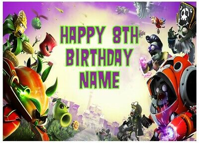 Plants vs Zombies Personalised Edible Icing Cake Topper A4 Size Birthday