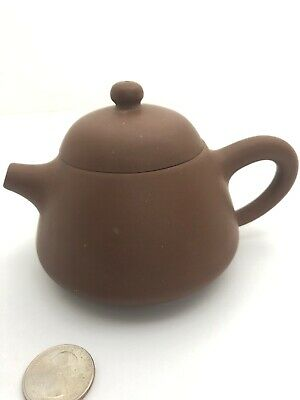 FINE CHINESE  BROWN YIXING ZISHA ANTIQUE TEAPOT👀Signed On The Bottom