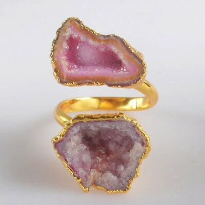 Size 9 Hot Pink Agate Druzy Geode Adjustable Ring Gold Plated B072500