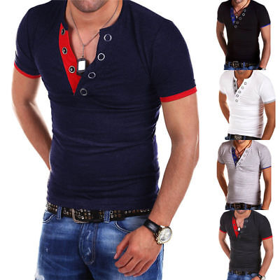 Men's Tee Shirt Slim Fit V-Neck Short Sleeve Summer Casual Muscle Tops T Shirts