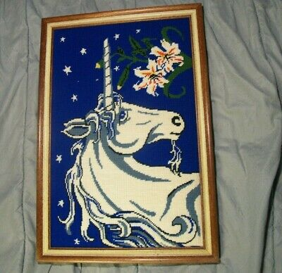 Vintage Framed Unicorn Needlepoint by Hazel Ledoux - US Seller