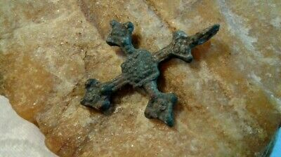 "MEDIEVAL 10-13th CENTURY VIKING-STYLE BRONZE CROSS PENDANT with ""LOZENGE"" MOTIF"