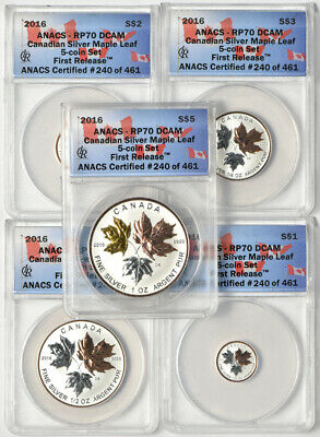 2016 Reverse Proof Silver Canadian Maple Leaf 5 Coin Set ANACS RP70 DCAM 1.9oz