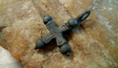 "ANTIQUE MEDIEVAL 10-13th CENTURY VIKING-AGE BRONZE ""BUDDED"" CROSS PENDANT"