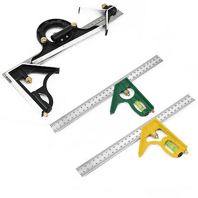 Combination Tri Square Set Angle Finder &Protractor Level Adjustable Measure