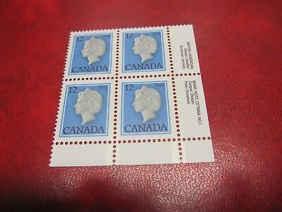 CANADA Unitrade# 713 12c FIRST-CLASS DEFS.1977-82 LR PLATE#1 BLOCK OF 4 MNH