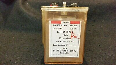 U.s Army Signal Corps Radio Battery Bb-54-A Sept. 1951 2 Volt 28 Ampere-Hours