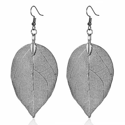Vintage Womens Natural Real Dipped Leaf Leaves Long Drop Dangle Earrings Jewelry