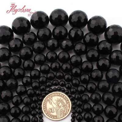 """Round Faceted Black Agate Onyx Natural Stone Loose Beads for Jewelry Making 15"""""""