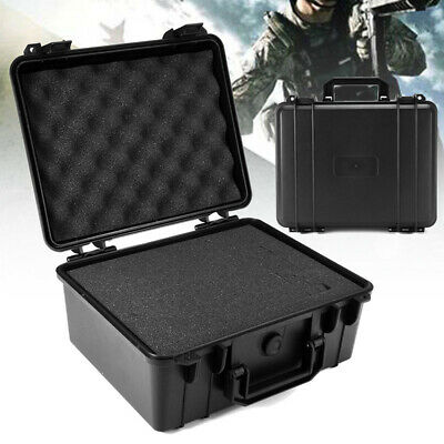 Waterproof Black ABS Hard Plastic Case Bag Tool Storage Box Organizer W/Sponge