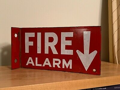 Antique Porcelain Enamel Fire Alarm Wall Sign - Vintage, Metal, Red Double Sided