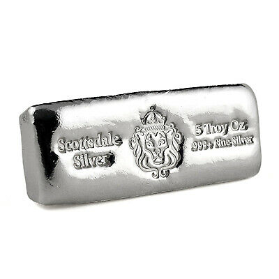 Lingot argent pur 999  SCOTTSDALE  5 Once / 5 Oz Cast Bar Fine Silver 999