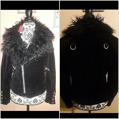 7e52bc9579 Tripp NYC Hot Topic Punk Faux Fur Metal Goth Punk Velvet Moto Band Black  Jacket
