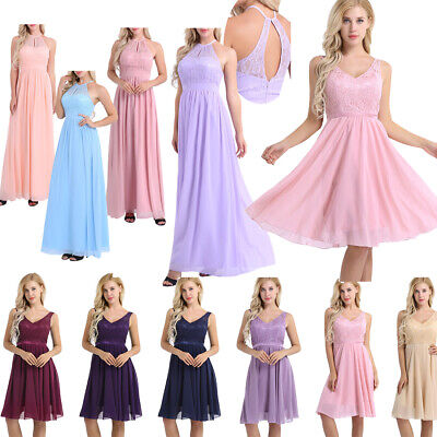 Womens Lace Evening Formal Party Cocktail Long Dress Bridesmaid Prom Ball Gowns