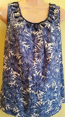 748149c5a Josephine Chaus Women's Top Blouse White/blue Embeded -Size L No Tag-4