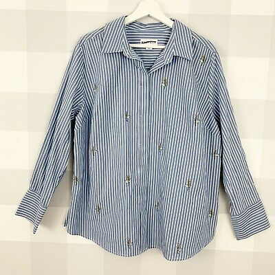 12d83c8f0180b2 NWOT AVA VIV 1X Womens Plus Size Button Down Shirt Striped Floral  Embroidered