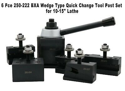 "6 Pce 250-222 BXA Wedge Type Quick Change Tool Post Set for 10-15"" Lathe"