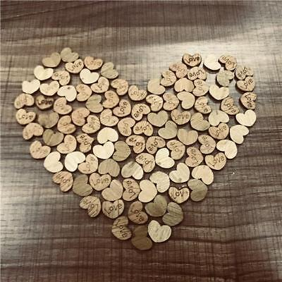100PCS Wood Love Heart Shape Embellishments Craft Blank Wedding Party Decor CS