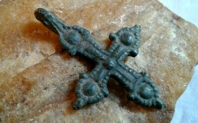 "MEDIEVAL 10-13th CENTURY VIKING-AGE LARGER BRONZE ""ARROW HEAD"" PHEON CROSS"