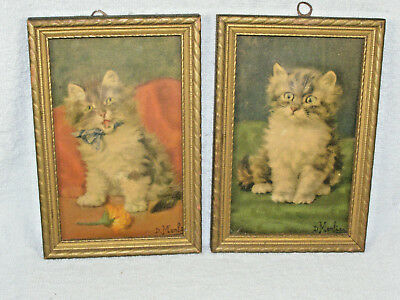 Pair Antique 3D Embossed Framed Kitten Pictures - Signed D. Merlin