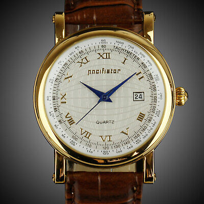 PACIFISTOR Mens Quartz Wrist Watches Date Analog Rose Gold Luxury Brown Leather