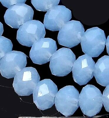 """6x4mm Faceted Blue Chalcedony Glass Quartz Rondelle Beads 18"""""""
