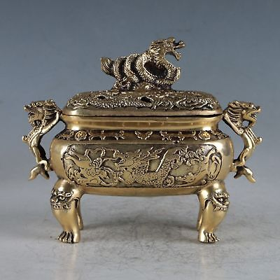 Chinese Rare Copper Dragon Incense Burner Made During The Daming Xuande