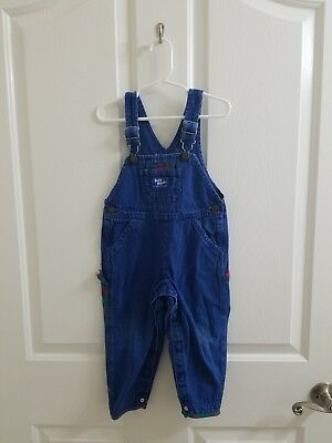 Vintage Baby Boy Blue Denim Plaid OSHKOSH B'GOSH Vestbak Overalls 24 Months
