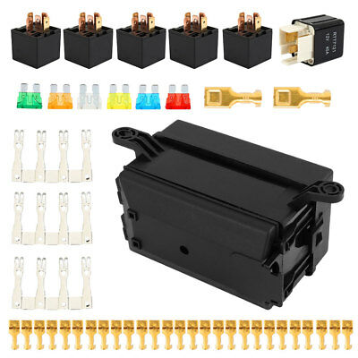 Fuse Box Auto 6 Relay Block Holders 5 Road Fit For Car & Trunk ATV Insurance .