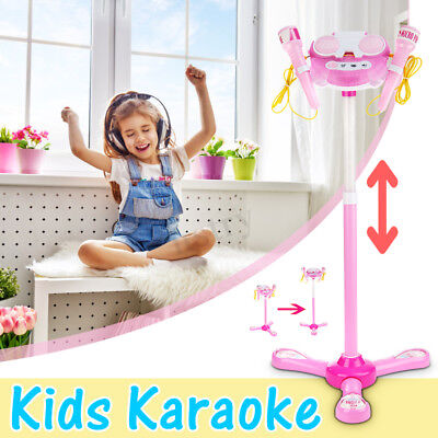 Karaoke Machine With Microphones Adjustable Stand Music Kids Play Toys Play