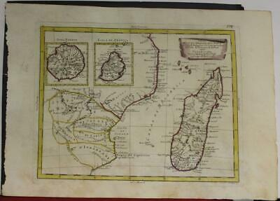 Madagascar South Africa Reunion Mauritius 1784 Zatta Scarce Antique Engraved Map