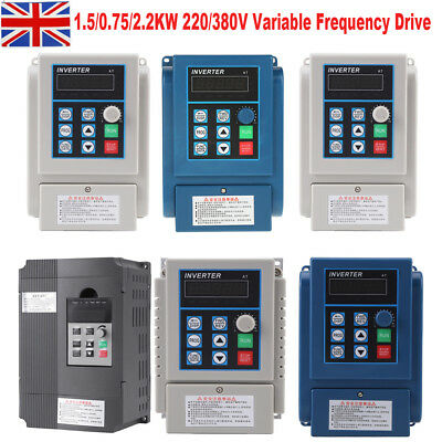 220V 0.75/2.2KW 5A Single Phase Variable Frequency Speed Drive VFD Converter UK