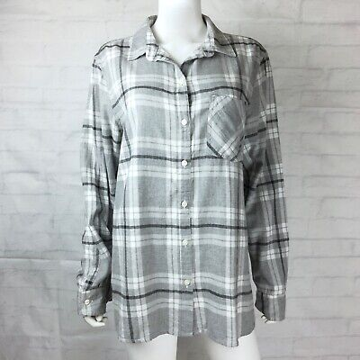 e08cc7e8 Old Navy Womens Size XL Flannel Classic Shirt Button Down Gray White Plaid