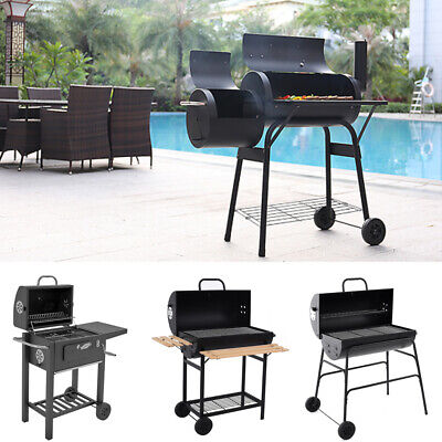 Large Charcoal Barrel BBQ Grill Outdoor Garden Barbecue Smoker Cooking Party