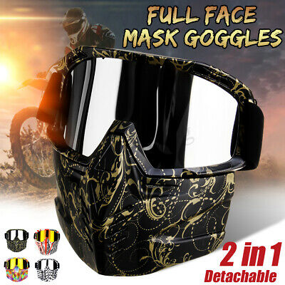 2701d1b5954 Motorcycle Shield Face Mask Goggles Detachable Ski For Harley Style Helmet  Open