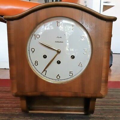 Vintage Mid Century Dunklings Winding Wall Clock with Chimes. Made in Germany