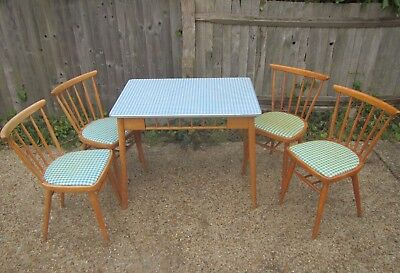 Vintage Gingham Formica Mid Century Wooden Table & 4 Chairs