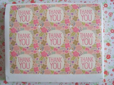 "45pcs Pastel Floral ""Thank You"" Craft Packaging Seals Stickers Label Gift  *UK"