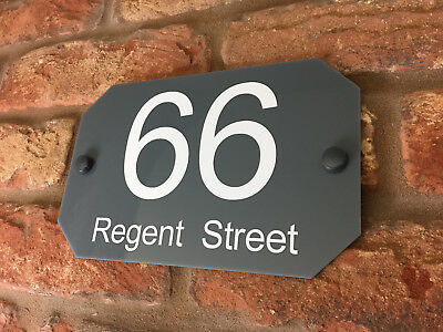 House Number Sign / Plaque. Modern Contemporary Grey Acrylic Door / Curve Side