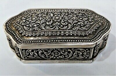Antique Sri Lankan Silver Snuff Box, Gorgeous Engraving, Repousse Late 19Th C.