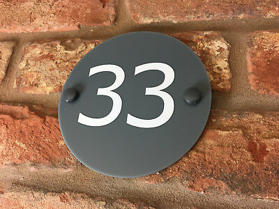 House Number Sign / Plaque. Modern Contemporary Grey Acrylic Door / Round Small