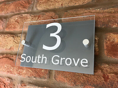 House Number Sign / Plaque. Modern Contemporary Grey & Clear Acrylic