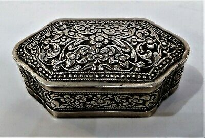 Charming Antique Sri Lankan Silver Snuff Box, Tiny Size, Repousse Late 19Th C.