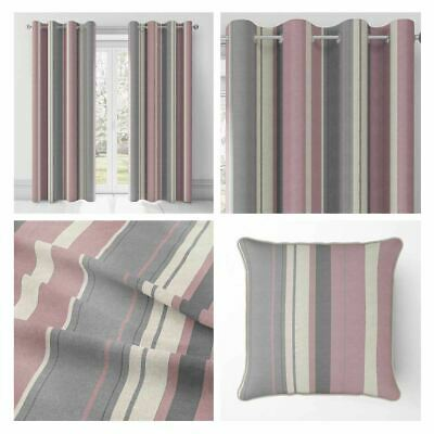 Pink Eyelet Curtains Blush Whitworth Stripe Lined Cotton Ring Top Curtain Pairs