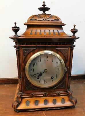 carved walnut cased lenzkirch ting tang bracket clock c1900s