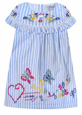 Baby Girls Ruffle Dress Kids Toddler Embroidery Summer Dresses Age 6 - 24 Months