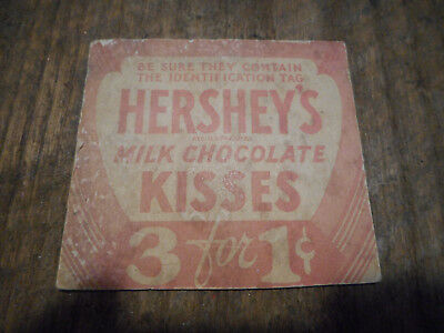 L3423-ANTIQUE HERSHEY Chocolate HERSHEY'S KISSES 3 for 1 cent Sign Tag Cardboard