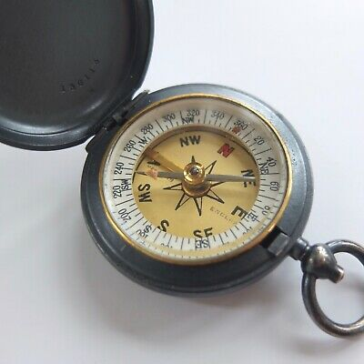 ANTIQUE FRANCIS BARKER POCKET COMPASS BRASS HUNTER CASED VINTAGE c.1911