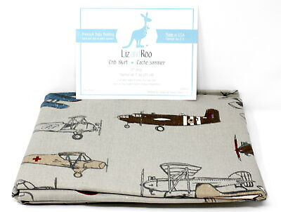 "Liz and Roo Crib Skirt 17"" Drop, Multi, Vintage Airplanes"