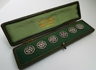 Superb Very Rare Boxed English Antique Liberty & Co 1900 Sterling Silver Buttons